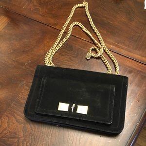 Salvador Ferragamo Suede Bag with Gold Chain